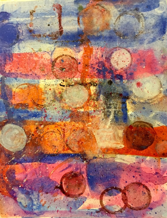 """Abstract Art Midcentury Style - Original Painting in Water Color, 7"""" x 9"""", Small Wall Art"""