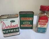 Vintage Durkee spice tins