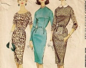 """A Height-Proportioned Dress Pattern for Women: Straight Skirt, w/Collar/Neckline & Sleeve Variations -Retro Size 20 Bust 40"""" • McCall's 5553"""
