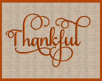 Word Thankful Thanksgiving Embroidery Design Fall Embroidery Design Script Font Embroidery Design