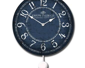 Blue & White Pendulum Clock