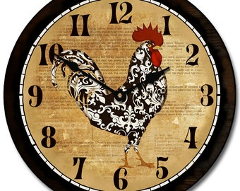 Black & White Rooster Wall Clock