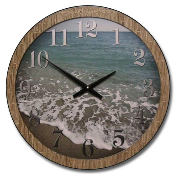 beach wall clock by thebigclockstore on etsy. Black Bedroom Furniture Sets. Home Design Ideas