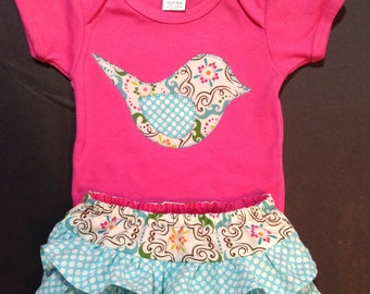 PRETTY BIRD girls summer play outfit, ruffle diaper cover and onesie set, birthday set