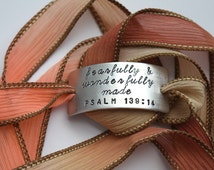 Fearfully and Wonderfully Made Psalm 139:14 - Hand Stamped Ribbon Wrap Bracelet