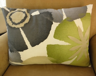 Floral Sage,Black, Charcoal,Gray,Natural,Ivory Linen Pillow Cover 15x20