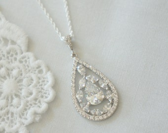Crystal Bridal Necklace, Swarovski Crystal Bridal Necklace, Weddings, Bridesmaids Necklace, Vintage Wedding Jewelry Maid of Honor Jewelry