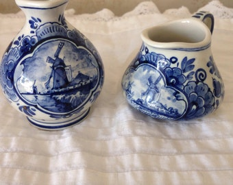 Vintage Delft Blue Miniature Pitchers,Made in Holland,Wind Mills.