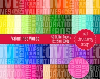 75% OFF Sale - 56 Digital Papers - Valentines Words - Instant Download - JPG 12x12 (DP276)