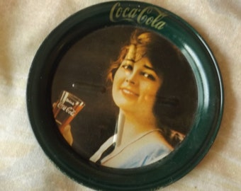 Metal COCA-COLA Coaster Coke Lady 1970's CL4-32