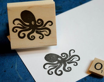 Octopus Rubber Stamp, Hand Carved Stamp, Octopus Stamp, Squid Rubber Stamp, Nature Stamp, Fish Rubber Stamp, Journal Stamp, Squid Stamp 038