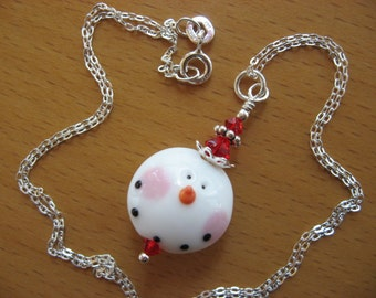 Snowman Necklace, Snowman Pendant Necklace, Lampwork Snowman, Christmas Necklace, Holiday Necklace, Winter Necklace, Cute Snowman