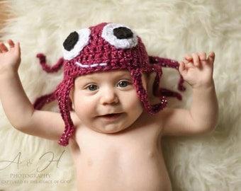 Octopus hat, newborn photo props, sea animal baby outfit, glittery octopus hat, crochet octopus hat, sea animal baby shower gift