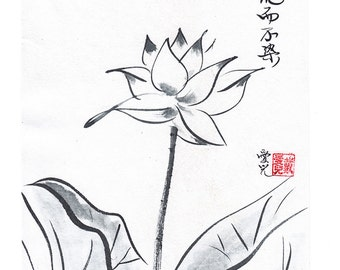 Original sumi-e - zen painting of lotus