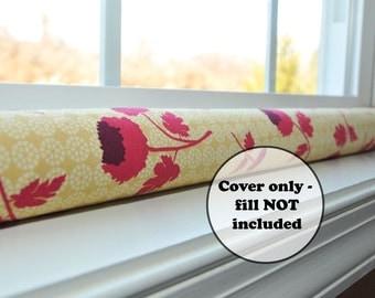 door draft stopper sleeve - window draught excluder - wind snake - custom length dodger - floral home decor - raspberry red, mustard gold