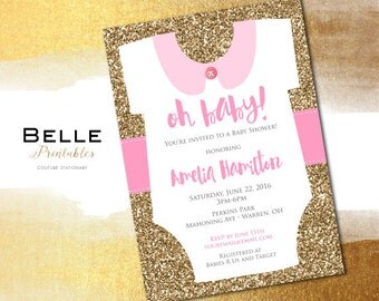 Baby Shower Invitation - Onessie for Girl and Gold Glitter- DIY Printable - Pink with Gold