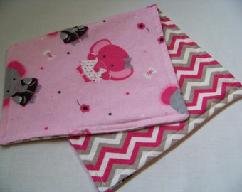 Elephants and Chevron Reversible Burp Cloth