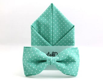 Set Bow Tie & Pocket Handkerchief by BartekDesign: set bow tie pocket square mint green dots wedding grooms gift