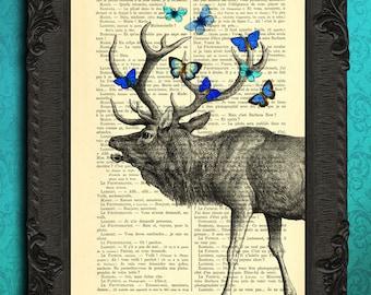 deer print - deer with blue butterflies art print - deer antlers wall art