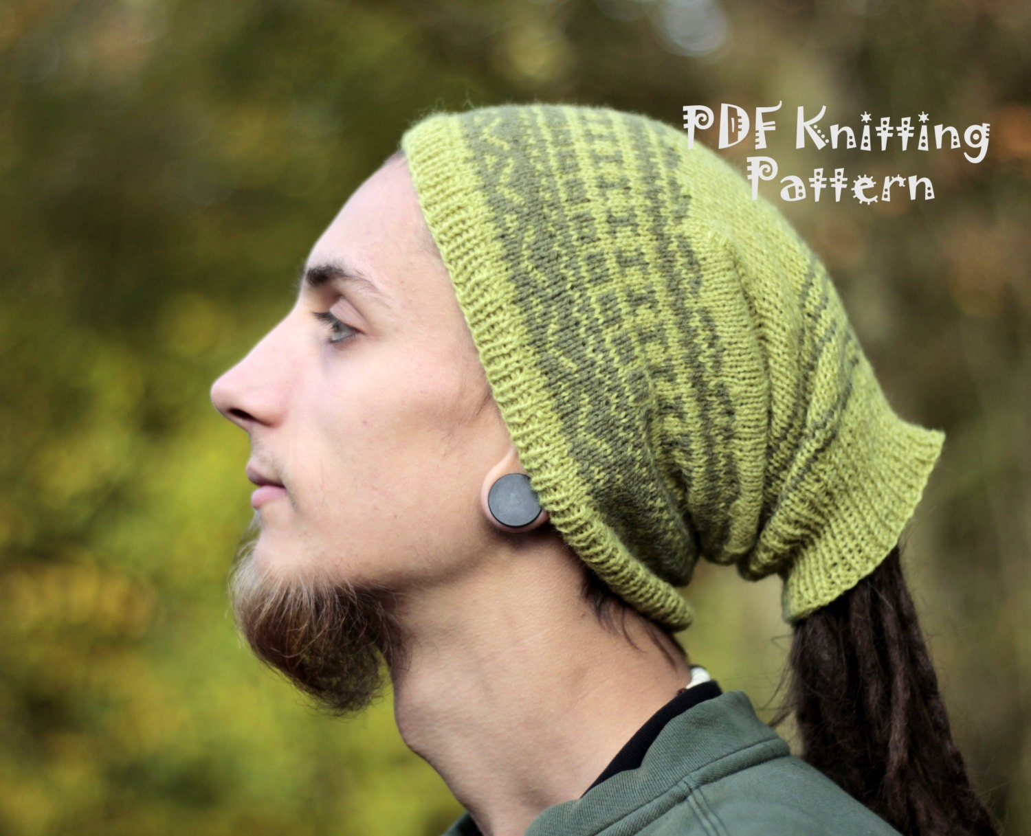 PDF Knitting Pattern Dreadlock Hat for Man Knittedwith