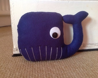 Walter Whale Handmade Felt Doorstop