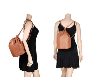 Light Brown Leather Sling Bucket Bag // Mini Leather Backpack Purse // H212