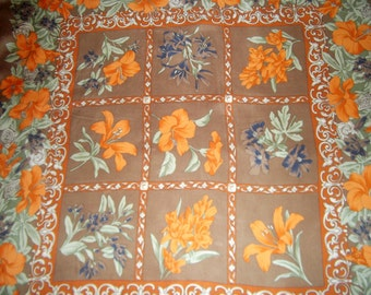 Lombagine Paris vintage scarf,  flowers print, baroque border