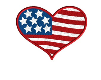 Embroidery design, Patriotic heart applique,  4 size applique, 4th of July, Memorial Day embroidery,