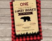 DIY Printable Vintage Black Bear/Lumberjack Birthday Invitation