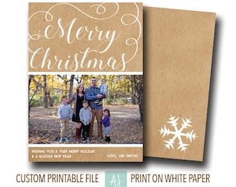 Rustic, Printable Christmas Card with Photo- Photo Holiday Card- Family Card for Christmas