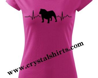 English Bulldog heartbeat T-shirt