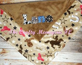 Western Baby Blanket, Personalized Baby Boy Blanket, Personalized Minky Blanket, Minky Blanket, Baby Boy Personalized Blanket