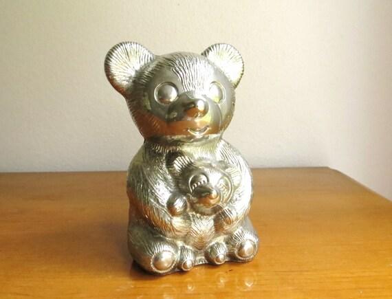 Vintage Teddy Bear Bank, Silver Bear, Children's Bank, Coin Bank, Money Storage, Kids Room Decor