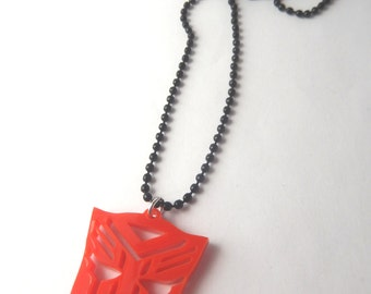 Red Geeky Alien Robot Laser Cut Acrylic Necklace