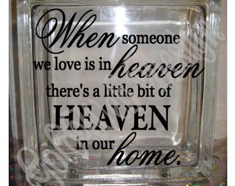 When Someone We Love Inspirational Glass Blocks, Night Light