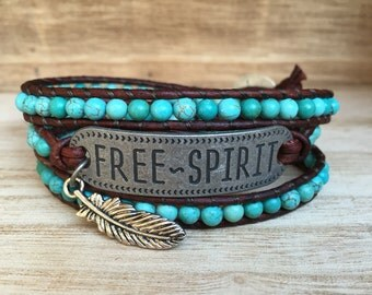 Free Spirit Wrap Bracelet, Turquoise Bracelet, Triple Wrap Bracelet, Bohemian Bracelet