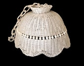 Large Cottage Chic Wicker Lamp Shade Vintage Hanging Rattan Shade Swag Lamp