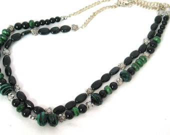 Green Necklace, Black Necklace, 2-Strand Necklace, Forest Green, Black, Green,  Floral Fashionable Necklace
