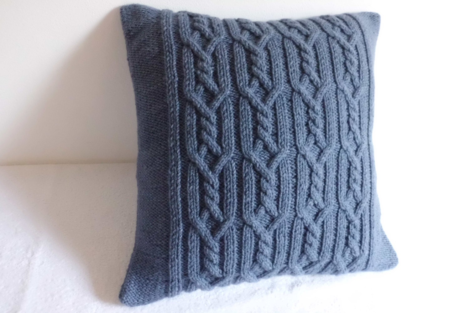 Cable Knit Decorative Steel Blue Pillow Blue Gray Throw