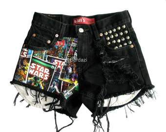 Half Star Wars Half Distressed & Studded High Waisted Shorts