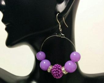 Purple Hoops Dangling Earrings Diva Earrings Love and Hip Hop Basketball Wives celebrity Jewelry .925 sterling silver Hoops