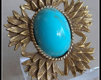 Vintage Brooch Faux Turquoise