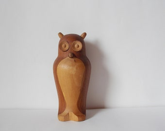 SALE Vintage Danish Wooden Owl Laurids Lonborg Style Wood Animal Statue Made in Denmark