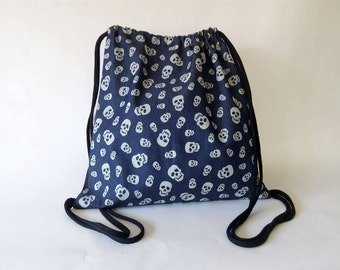 Skulls on jean drawstring backpack  Cotton canvas 35x35cm