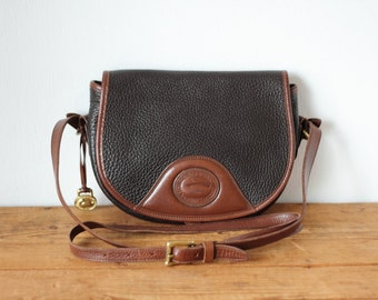Vintage DOONEY & BOURKE Flap Snap Saddle Bag AWL Dark Brown Leather Purse/ Chocolate Brown All-Weather Leather Dooney and Bourke Messenger