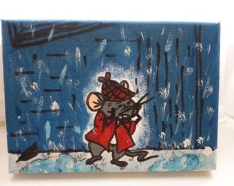 Handmade Painting of Roquefort the Mouse from The Aristocats film A5 Canvas Wall Hanging home decor art