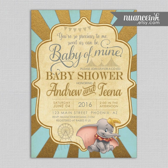 dumbo baby shower invitations printed or digital copy pink or blue