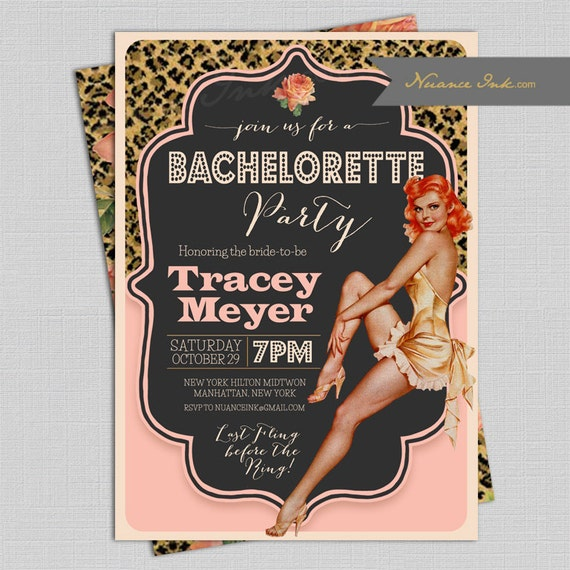 Pin Up Rockabilly Bachelorette Party Invitations, lingerie shower, wedding shower, pink and leopard, vintage, retro, girls night out