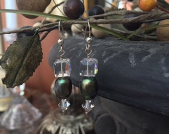 Green freshwater pearl drop earrings with Swarovski crystals.