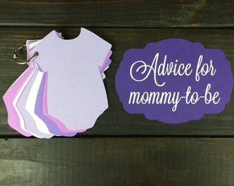 Purple Baby Shower Onsie Guestbook / Advice Cards